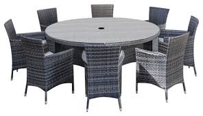 rattan garden furniture amelia 8 seat 1 5 m round outdoor dining set brown