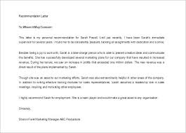 Letter Of Recommendation Supervisor 11 Recommendation Letters For Employment Free Sample Example