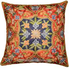 Ottoman Design Floral Decorative Cushion Cover Red Blue Hand Embroidered  16