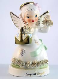 Vintage Napco A 1368 August birthday girl angel figurine | #1904743378