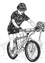 Pentekening Van Een Mountainbiker Getekend Door Brigit Weeda