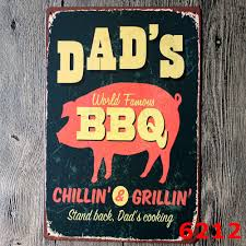 Retro Kitchen Wall Decor Dads World Famous Bbq Tin Sign Retro Metal Painting Barbecue Bbq