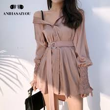 <b>2018 Summer korean</b> loose blouse retro off shoulder top Lantern ...