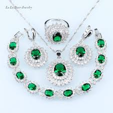 l b russian green created emerald ring pendant earrings necklace bracelet silver color party sunflower jewelry set