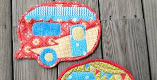 Happy Camper Quilted Pot Holders - Quilting Digest & Happy Camper Pot Holders Adamdwight.com