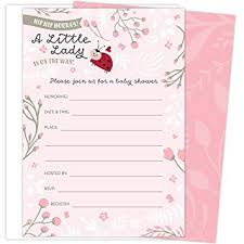 Little Lady On The Way Baby Shower Invitations For Girls Set Of 25 Fill In Style Cards And Envelopes Ladybug Theme With Pink And White Flowers