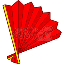 red paper fan. chinese hand fan red paper