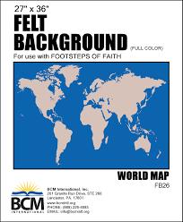 World Map Felt Background Full Color