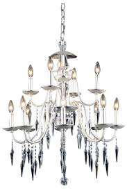 elegant lighting 5006d28ps ec gracieux 12 light crystal chandelier in polished silver with elegant cut crystal clear