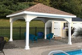 wood patio covers. Perfect Wood 14x14 Vinyl Pavilion  Rustic Cedar Roof Shingles 12 Intended Wood Patio Covers