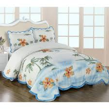 8 yellow blue green palm tree with hibiscus comforter bedding set print duvet cover flower covers uk