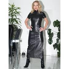 leather dress long ds 004 black