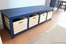 storage bench plans. Perfect Bench A Blue Storage Bench With Room For Shoes With Storage Bench Plans M