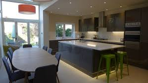 gloss grey kitchen diner in side return extension with aluminium bifold doors