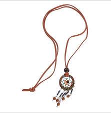 Purchase Dream Catchers Light Brown Dreamcatcher Necklace Handmade Pendant Indian Dream 89