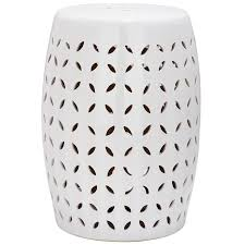 safavieh 18 5 in white ceramic barrel garden stool at