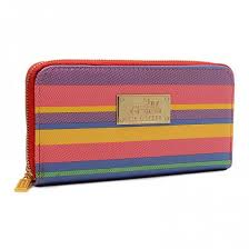 Have a sense of fashion Coach Poppy Striped Large Red Multi Wallets EVB