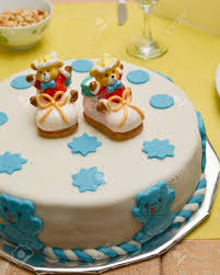 Baby Boy Birthday Cake With Cute Shoes Stock Photo Picture And