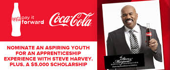 steve harvey coca cola pay it forward scholarship program  coca cola pay it forward contest and sweepstakes6