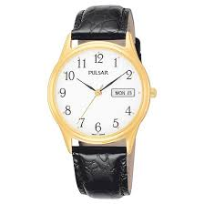 men s pulsar day date watch gold tone white dial and black men s pulsar day date watch gold tone white dial and black leather strap pxn080