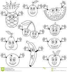 Coloring Fruit Characters Royalty Free Stock Photo Image 9847995 Fun Fruit Coloring Page L
