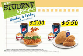 kfc student weekday specials meals from 5 only january 2016 promotion great deals singapore