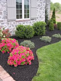 Simple landscaping ideas home Planting Reduced Upkeep Evergreen Boundary With Pop Of Color Landscaping Front Of House Wood Pinterest Always Use Dark Mulch Not The Light Cedar Or Red Colored Variety