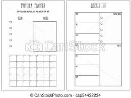 Monthly And Weekly Planners Weekly Planner Monthly Planner Printable Pages Vector Organizer Template