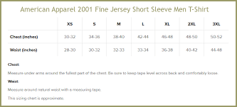 American Apparel Size Chart Shirts And Sizing New Moose