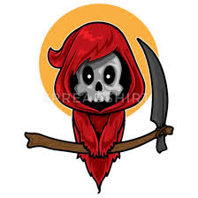 cartoon cute red grim reaper iphone x