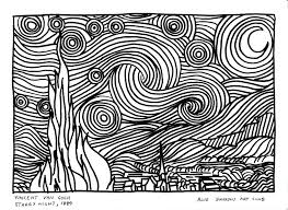 Small Picture Van Gogh Starry Night Coloring Page Vincent Van Gogh Starry Night
