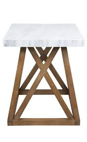 montreal white marble top side table with natural oak legs floor stock