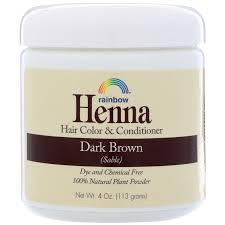 Rainbow Research Henna Hair Color Conditioner Dark Brown Sable 4 Oz 113 G
