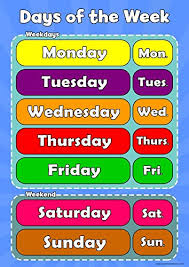 Days Of The Week Chart For Toddlers Wisdom Learning Days Of The Week Learn Childrens Wall Chart Educational Childs Poster Art Print Wallchart