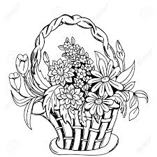 Basket With Flowers Hand Drawn Sketch Doodles Vector Design