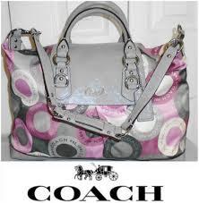 Coach F15448 Large Ashley Bag Gray-Pink Snaphead Sateen Satchel Hobo bag.