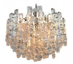 ice glass chandelier hanging lamp by jt kalmar for kalmar 1960s
