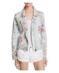 blanknyc embroidered embellished denim moto jacket