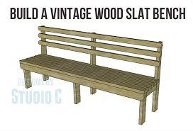 plans build vintage wood slat bench copy