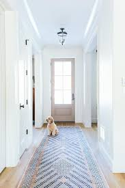long foyer hallway with pink and blue runner