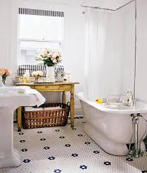 tiny vintage bathrooms with white pedestal washbasin and white acrylic freestanding tub using white plastic bathtub shade on stainless steel curtain rod