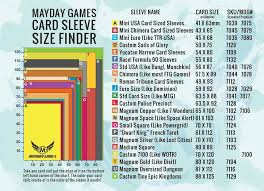 Card Size Chart Mayday Games Sleeve Finder