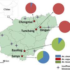 Mosquito Chart A Map Of Anopheles Mosquito Sampling Sites In Hainan Island