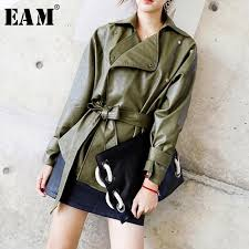 eam 2018 new autumn winter solid color pu leather coat slim short lace up shrink waist jacket women fashion tide la940 leather jacket cbj hockey from