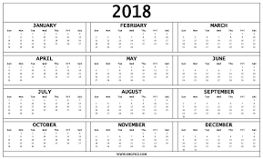 2018 calendar printable free pdf template with holidays uk nz usa
