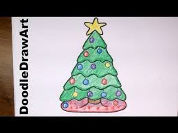 Drawing: How To Draw a Cute Cartoon Christmas Tree - Easy step by step  drawing lesson