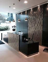 mirrored reception desk asset management reception laser cut screens weave design by miles and desk organizer