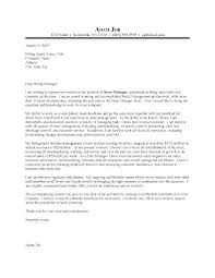 Retail Management Cover Letter Sample Retail Cover Letter Manager