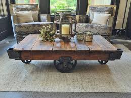 excellent antique lineberry factory cart coffee table railroad coffee table intended for railroad cart coffee table attractive