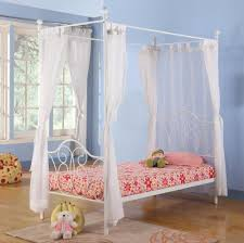 Bedroom: Blue Bedroom Wall Idea And Twin White Canopy Bed And Floral ...
